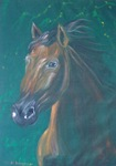Brown horse portrait on green velvet