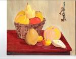 Still life of fruit in a basket.