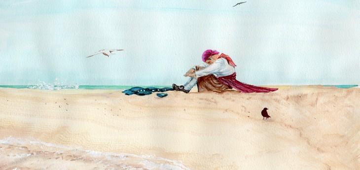 Marooned on a sandbar