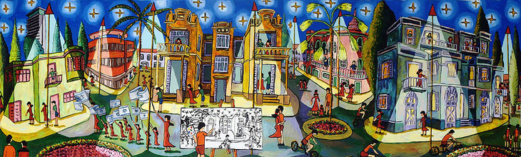 starry night on tel aviv naive paintings by rahpael perez israel