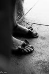sandals in rain