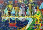 fireworks naive paintings colors painting raphael perez art rafi