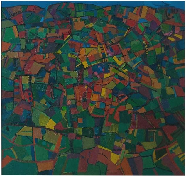 1972 - olio su tavola cm 106x112 - Paesaggio scomposto