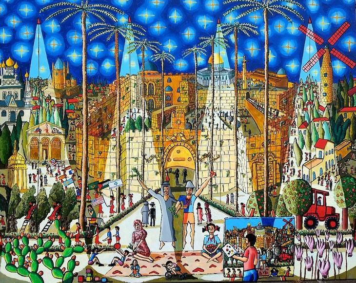naive painting of jerusalem city art paintings by raphael perez