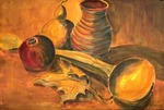 Wooden Scoop with Jug, Calabash and Pomegranate
