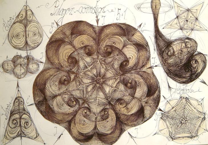 37 Unda stationara circular Pentagonala lichida vortex principiu
