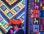 Peruvian Lady Selling Carpets in Pisac, Peru