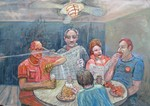 Quiet breakfast in the Bronx - israeli art. gideon saar