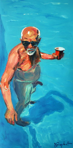 an old man with a drink