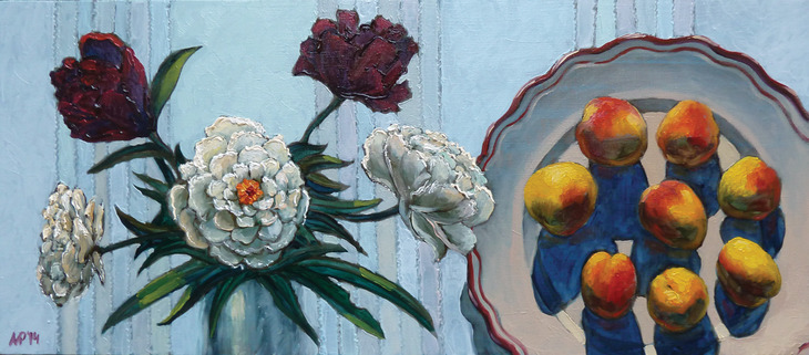 Peonies and apricots.