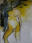 Frau mit blauem Arm und Kopf