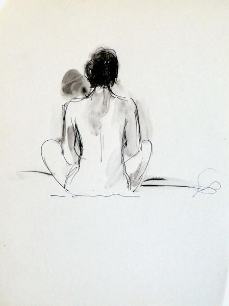 sitting nude 24x32