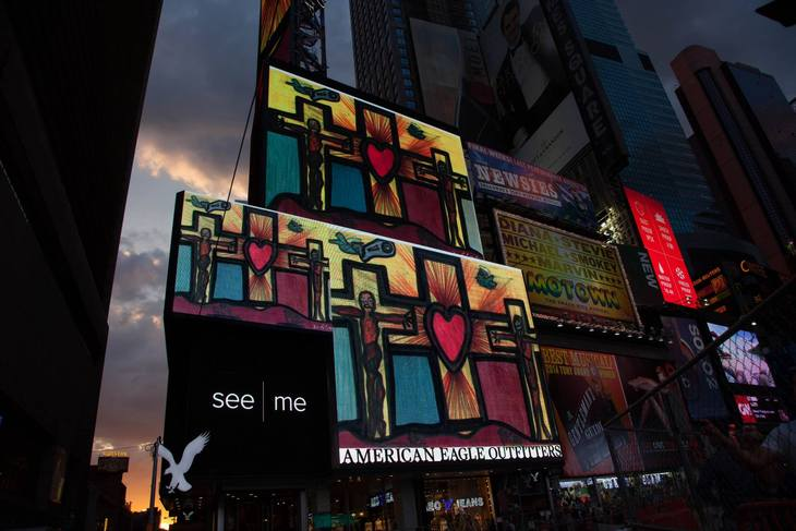 Artist Darrell Black work displayed in New York's Times Square J
