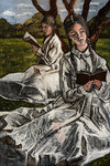Two Girls Reading Under a Tree