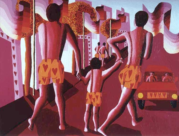 gay family painting queer art 2 men with a child homosexual arts