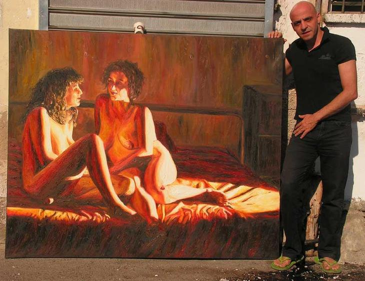 two lesbian painting nude women paintings erotic  art woman pic