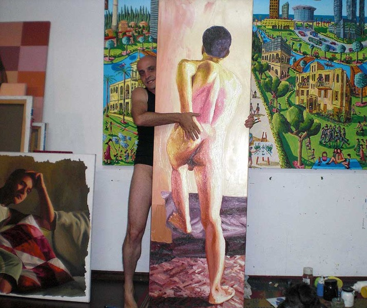 raphael perez artist nude painter naked art self portrait photo