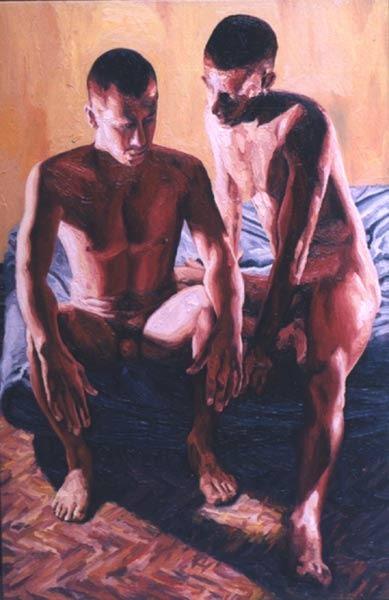 gay art erotic homoerotic men paintings male artist  man painter