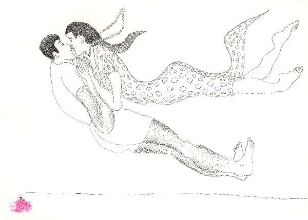 man woman flying couple male female drawings art  men women arts