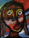 Girl moheka Acrylic and non toxic hotglue on canvas size 70cm by