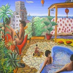 gay art couple on balcony homosexual men paintings male painting