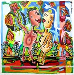 lovers paint like a child   couple kissing relationship and love