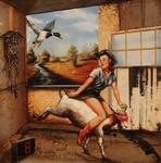 cuckoo pin-up goat rider