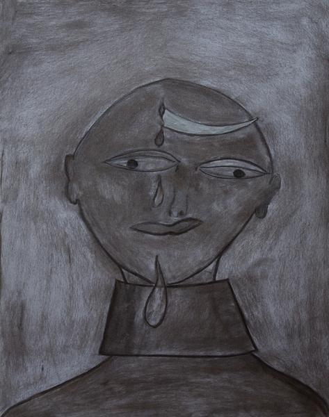 Gemälde-54-Abstrakt- Kohle auf Papier- Format 42 cm x 52,4 cm