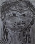 Gemälde-59-Abstrakt- Kohle auf Papier- Format 42 cm x 52,4 cm