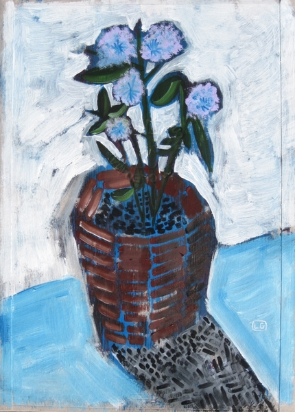 Pot With Blue Flowers