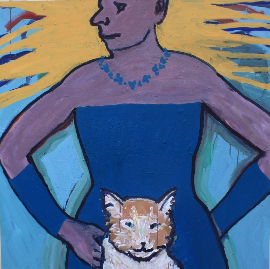 "003""Woman and cat"""
