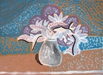 Vase With White And Purple Flowers