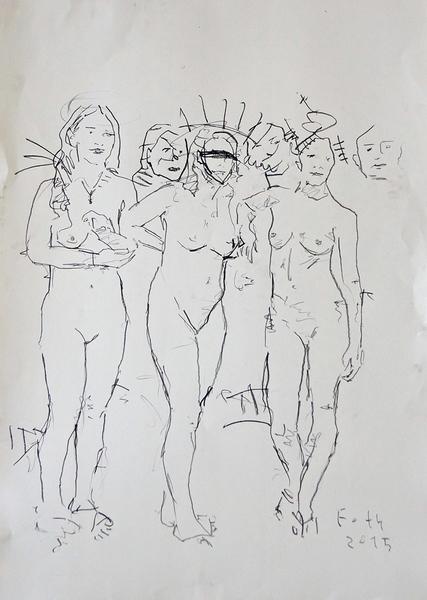 Kleine Gruppe unbekleideter Frauen