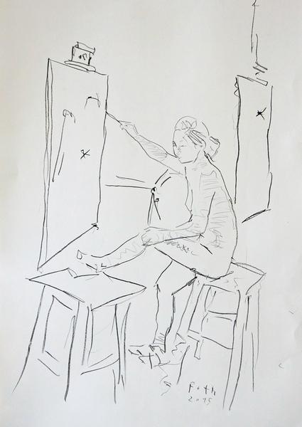 Studentin, malend
