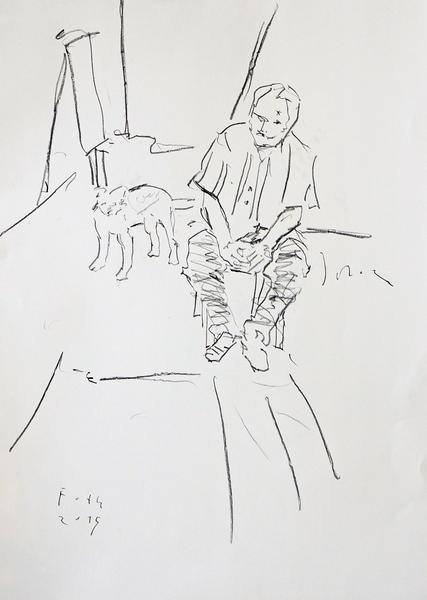 Selbst, im Atelier, mit Hund