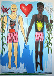 black male white man love paintings gay couple painting queer