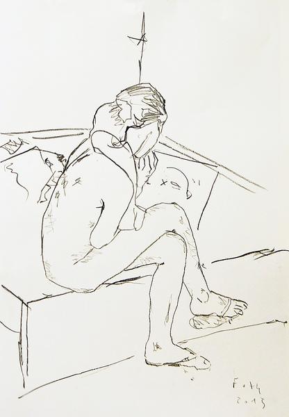 Mädchen, eine Zeichnung betrachtend