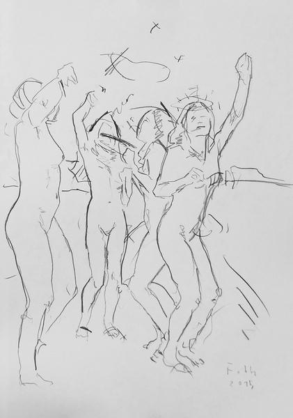Gruppe, ausgelassen tanzend
