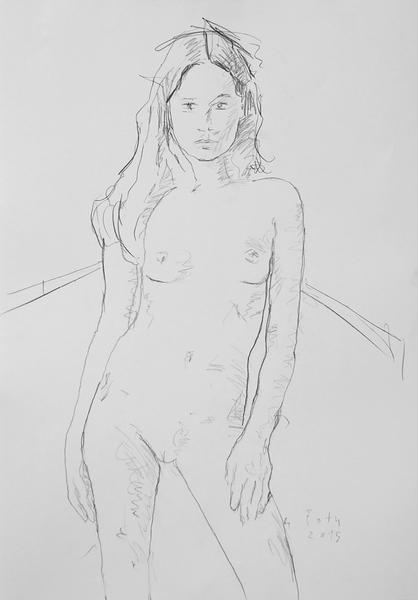 Stehendes Mädchen, unbekleidet