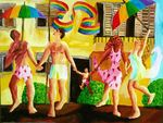 gay family painting homosexual flage men and women raising child