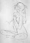 Unbekleidete Frau, sitzend und den Kopf reckend