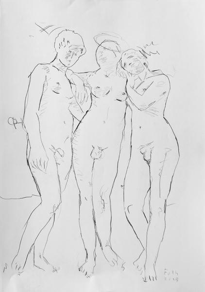 Drei Hermaphroditen, eine klassische Positur einnehmend