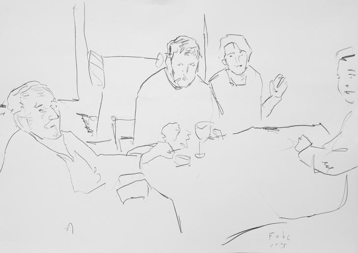 Vater mit Tochter und Söhnen, Kaffeetafel