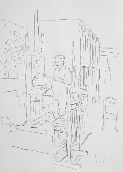 Selbst, vor der Staffelei und malend