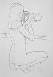 Unbekleidete Frau, fotografierend