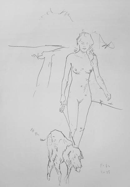 Unbekleidetes Mädchen, seinen Hund ausführend
