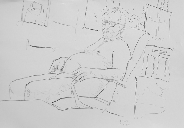 Selbst, unbekleidet im Atelier II