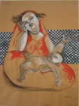 madonna avec portable et enfant acrylic sur papier craft 1