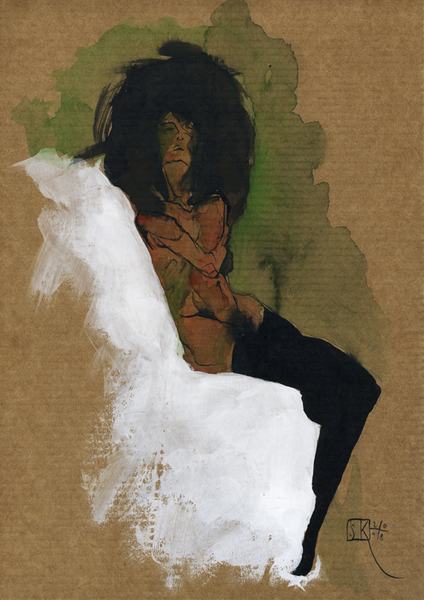 Seated woman on brown