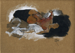 Reclining woman on brown